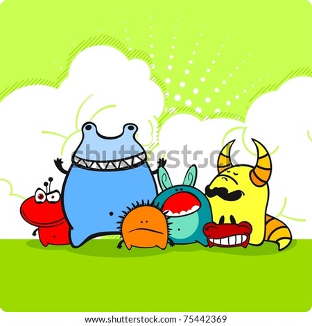 Group of angry monsters - stock vector