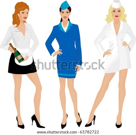 Group of beautiful girls in uniform. Stewardess, nurse and waitress. - stock vector