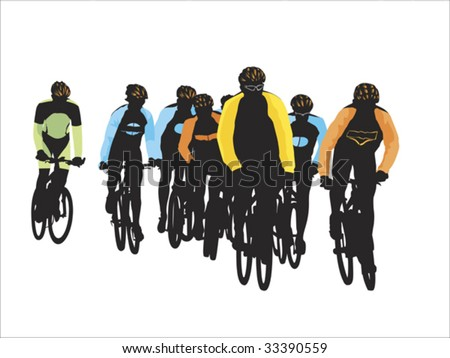 group of bicyclists - stock vector