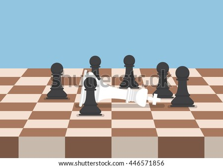 Group of black chess pawns defeat the white king, business strategy and competition concept - stock vector
