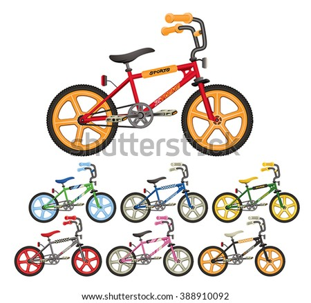 Group of BMX bicycle vector illustrations. - stock vector