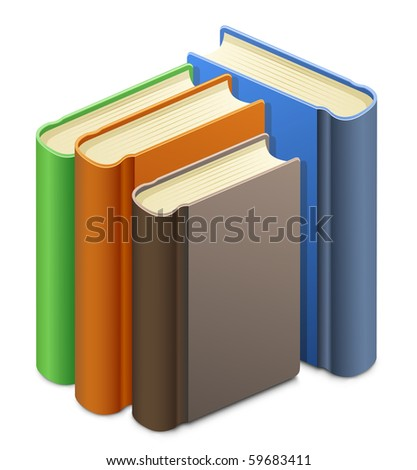 Group of books. Upright books. Library. - stock vector