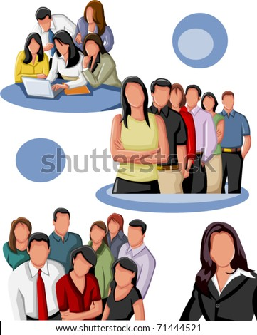 Group of business and office people. - stock vector