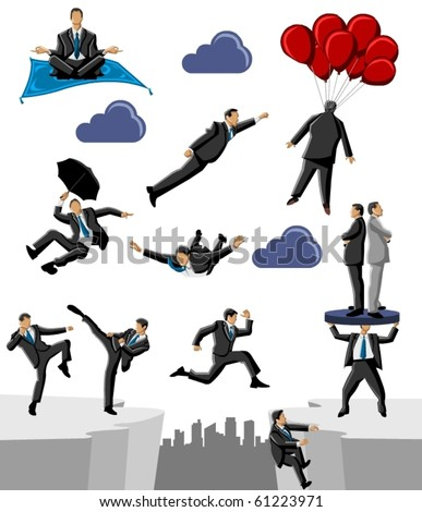Group of business and office people doing crazy things - stock vector