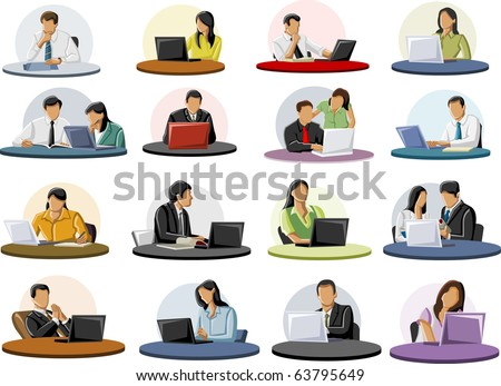 Group of business and office people on table - stock vector