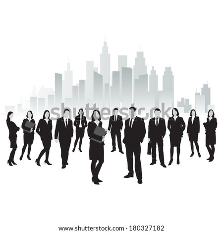 Group of business and office people with city. Vector illustration - stock vector