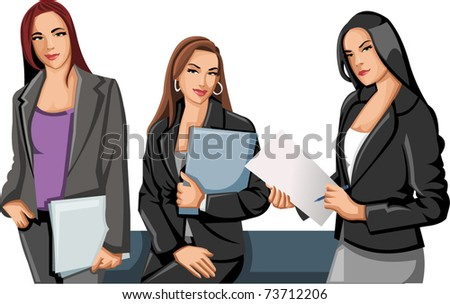 Group of business and office women - stock vector