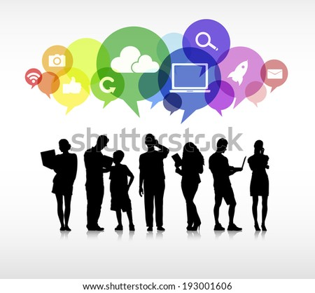 Group of business in a white background with colorful speech bubbles above containing social networking symbols. - stock vector