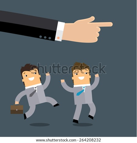 Group of business mans running in the same direction with big businessman's hand pointing to, business concept in leadership leading guideline to followers. Flat design - stock vector