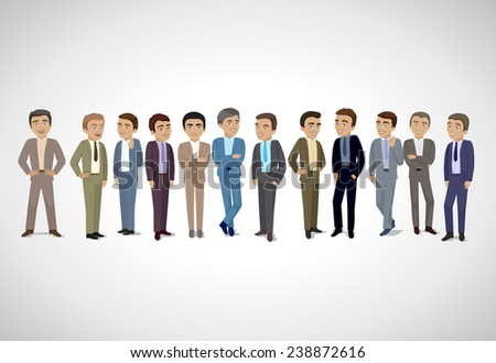 Group Of Business Men - Isolated On Gray Background - Vector Illustration, Graphic Design Editable For Your Design. Business Concept  - stock vector