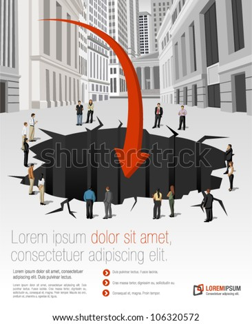 Group of business people around hole on the street of downtown financial district in New York. Financial crisis. - stock vector