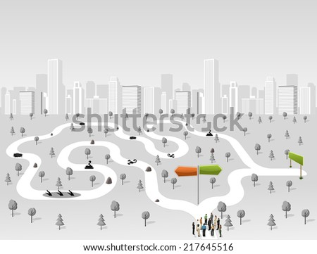 Group of business people choosing the right path. Multiple options. Overcoming challenges. - stock vector