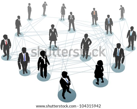 Group of business people connect standing on network nodes scene from above - stock vector