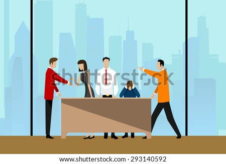 Group of Business People Discussing at City View. Vector - stock vector