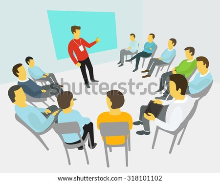Group of business people having a meeting around conference collaboration and discussion process conference presentation - stock vector
