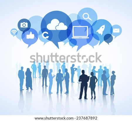 Group of business people in a white background with colorful speech bubbles above containing social networking symbols. - stock vector