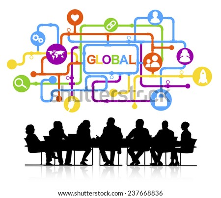 Group of Business People Meeting with Global Concept - stock vector