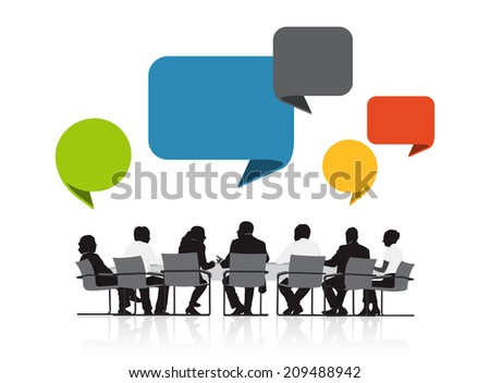 Group of Business People Meeting with Speech Bubble - stock vector