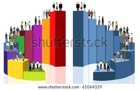 group of business people over chart - stock vector