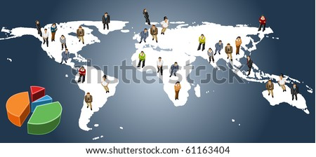 group of business people over earth map - stock vector
