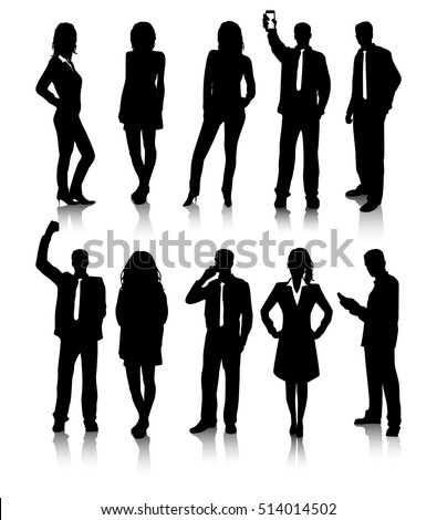 Group of business people silhouettes isolated, vector illustration