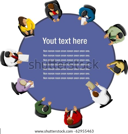 Group of business people working in office table - stock vector