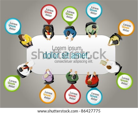 Group of business people working in office table with colorful pointers. Vector label. - stock vector