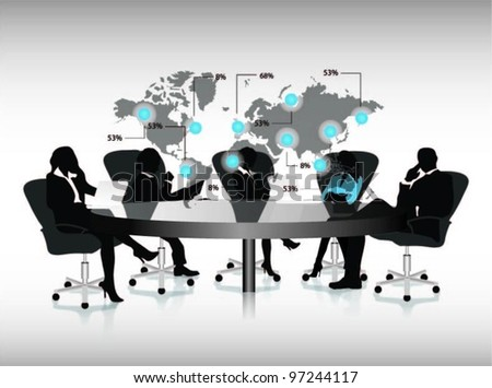 group of business people working in office with world map.vector label. - stock vector