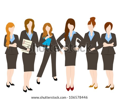 group of business woman - stock vector