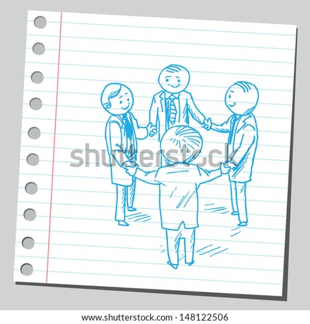 Group of businessman holding hands