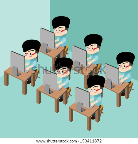 Group of businessman using pc computer in office room workplace , Cartoon vector illustration - stock vector