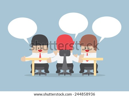 Group of businessmen brainstorming together at conference table, VECTOR, EPS10 - stock vector