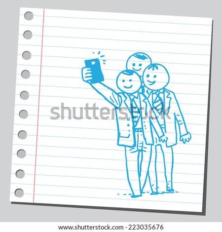 Group of businessmen taking selfie - stock vector