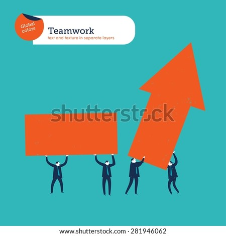 Group of businesspeople carrying an arrow. Vector illustration Eps10 file. Global colors. Text and Texture in separate layers. - stock vector