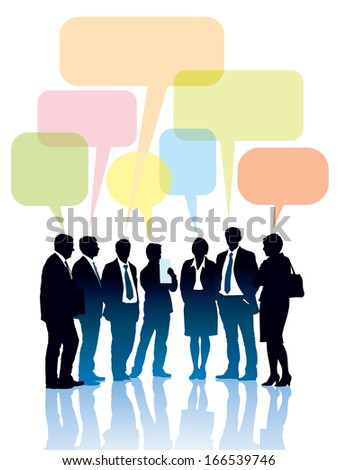Group of businesspeople standing and talking together  - stock vector