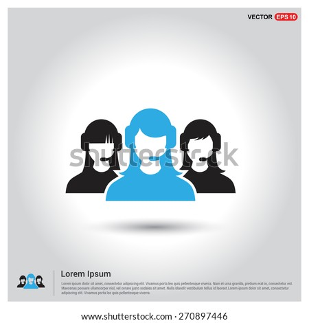 Group of call center operators wearing headsets. Call center icons. support group. User Icon. Users Icon. support team group. Blue leader Highlight. Flat style design Pictogram icon. - stock vector