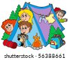Group of camping kids - vector illustration. - stock photo
