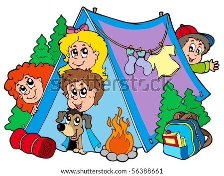 Group of camping kids - vector illustration. - stock vector