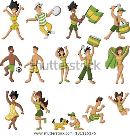 Group of cartoon brazilian people having fun - stock vector