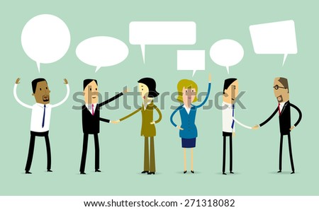 Group of cartoon business people shaking hands and talking. - stock vector