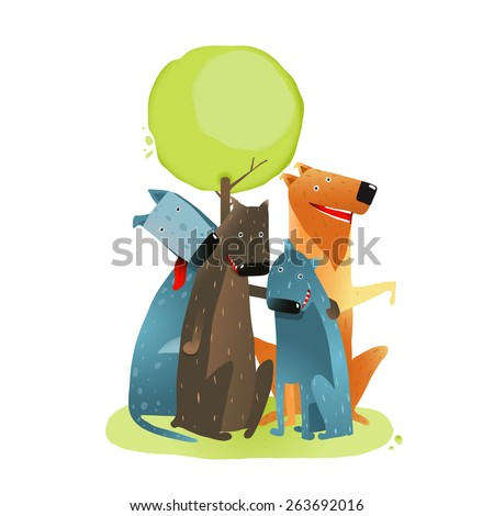 Group of Cartoon Dogs Sitting under Tree Smiling. Group of cartoon dogs under green tree on white background. Vector EPS10. - stock vector