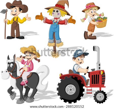 Group of cartoon farmers working - stock vector