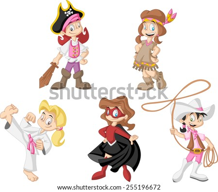 Group of cartoon girls wearing different costumes - stock vector
