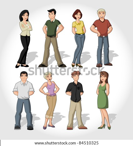 Group of cartoon people - stock vector