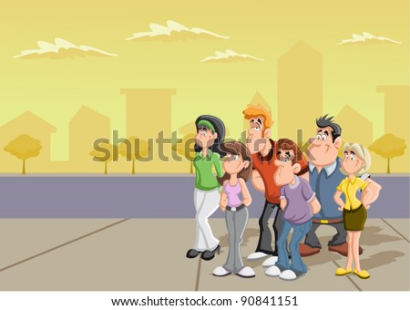 Group of cartoon people on the street. - stock vector