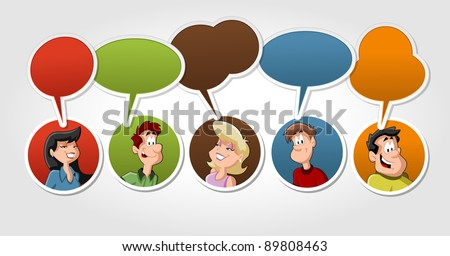 Group of cartoon people talking with speech balloon - stock vector