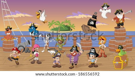 Group of cartoon pirates with funny animals on a decks of a ship - stock vector