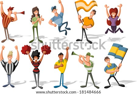 Group of cartoon sport fans and supporters cheering   - stock vector