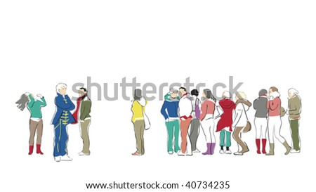 group of casual people waiting in queue - stock vector