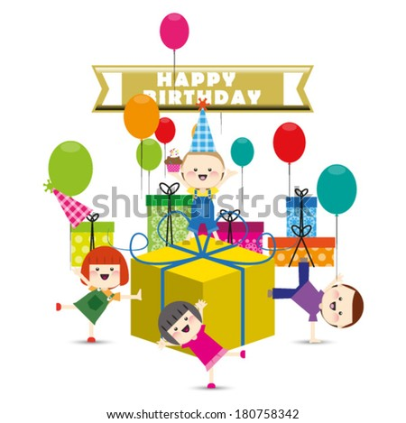 Group of child happy birthday party.Vector illustration